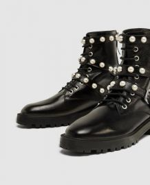 Pearl Embellished Boots by Zara at Zara