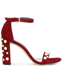Pearl Embellished Sandals by Stuart Weitzman at Farfetch