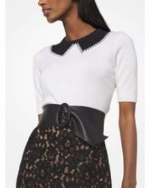 Pearl Embroidered Cashmere Trompe L\'oeil Pullover at Michael Kors