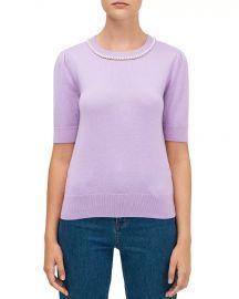 Pearl-Trimmed Sweater at Bloomingdales