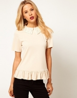 Pearl collar top from ASOS at Asos