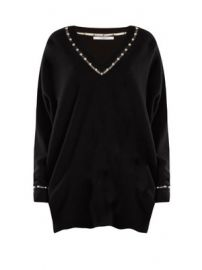 Pearl-embellished V-neck wool-blend sweater at Matches