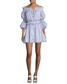 Peasant Striped Off-the-Shoulder High-Low Dress at Neiman Marcus