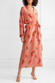 Peignoir Floral-Print Silk Robe by Bernadette at Net A Porter