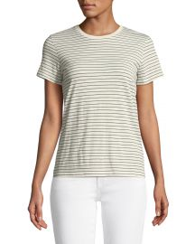 Pencil Striped Short-Sleeve Crewneck Top at Neiman Marcus