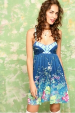 Pennys blue  floral dress at Free People