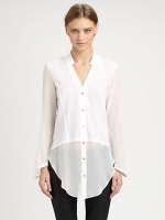 Penny's white sheer Helmut Lang blouse at Saks Fifth Avenue