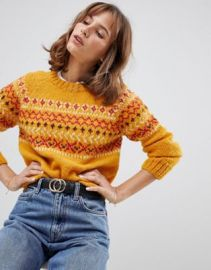 People Tree Hand Knitted Sweater In Fair isle Knit   ASOS at Asos
