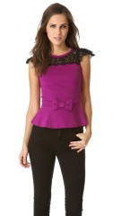Peplum top with lace by RED Valentino at Shopbop