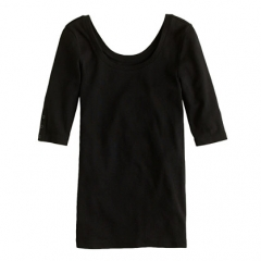 Perfect Fit Ballet Button Tee in black at J. Crew