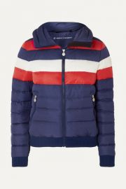 Perfect Moment - Queenie striped quilted down jacket at Net A Porter