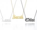 Personalised nameplate necklace at Sarah & Chloe