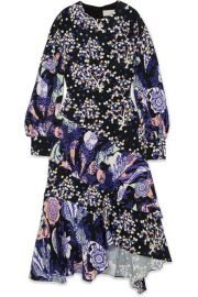 Peter Pilotto   Asymmetric printed silk midi dress at Net A Porter