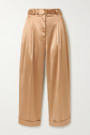 Peter Pilotto - Cropped belted satin wide-leg pants at Net A Porter