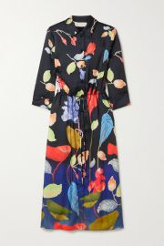 Peter Pilotto - Floral-print satin-twill midi shirt dress at Net A Porter