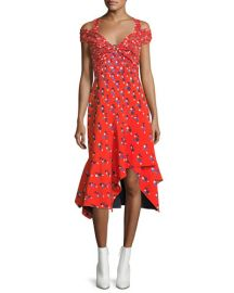 Peter Pilotto Cold-Shoulder Polka Dot Midi Dress at Neiman Marcus