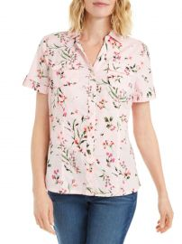 Petite Short-Sleeve Floral-Print Button-Down Shirt by Karen Scott at The Bay