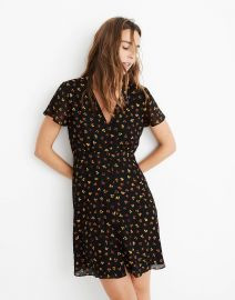 Petite Silk Button-Front Swing Dress in Feline Floral at Madewell