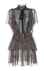 Philosophy Di Lorenzo Serafini Printed Chiffon Short Sleeve Dress at Moda Operandi
