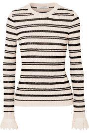 Philosophy di Lorenzo Serafini - Crochet-trimmed striped ribbed cotton-blend sweater at Net A Porter