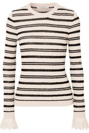 Philosophy di Lorenzo Serafini - Crochet-trimmed striped ribbed cotton-blend sweater at Net A Porter
