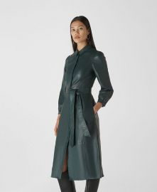 Phoebe Leather Shirt Dress at Whistles