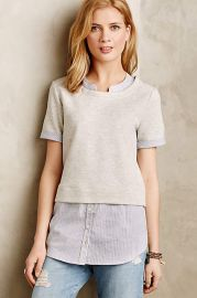 Picnic Plaid Layered Sweatshirt in grey at Anthropologie