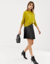 Pieces faux leather pleated skirt   ASOS at Asos