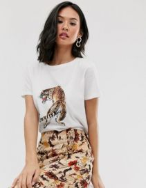 Pieces tiger print t-shirt   ASOS at Asos