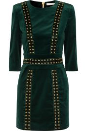Pierre Balmain   Embellished stretch cotton-blend velvet mini dress at Net A Porter