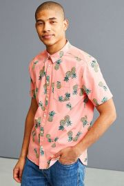 Pineapple Toss Short Sleeve Button-Down Shirt by Urban Outfitters at Urban Outfitters