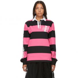 Pink & Black Striped Rugby Long Sleeve Polo at Opening Ceremony