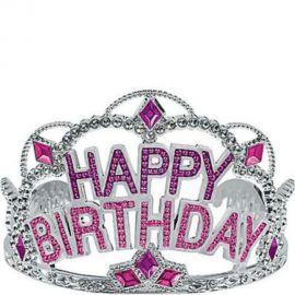 Pink Rhinestone Happy Birthday Tiara at Party City