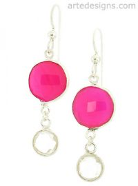 Pink Tourmaline and Quartz Drop Earrings at Arte Designs