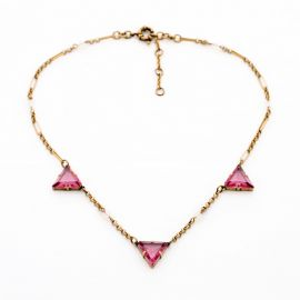 Pink Triangle Crystal Collar Necklace at Fanduoduo
