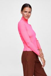 Pink Turtleneck Ribbed Top by Zara at Zara