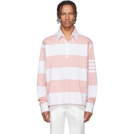 Pink and White Oversized Long Sleeve Polo by Thom Browne at SSense