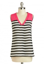Pink and black striped tank top  at Modcloth