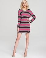 Pink and grey striped dress at Bloomingdales