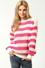 Pink and white striped sweater at Boohoo at Boohoo