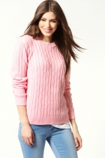Pink cable knit sweater at Boohoo