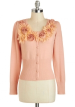 Pink cardigan with rosette detail at Modcloth