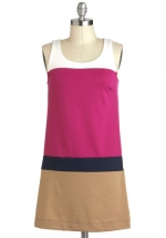 Pink colorblock shift dress at Modcloth