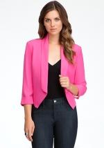 Pink cropped blazer at Bebe