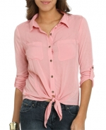 Pink cropped tie front shirt like Magnolias at Wet Seal