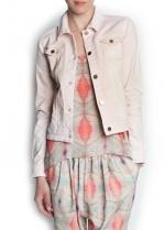 Pink denim jacket at Mango