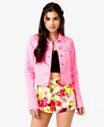 Pink denim jacket at Forever 21 at Forever 21