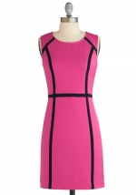 Pink dress with black lines at Modcloth