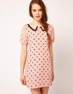 Pink heart print dress worn on Glee at Asos