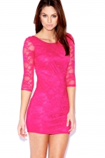 Pink lace bodycon dress at Boohoo